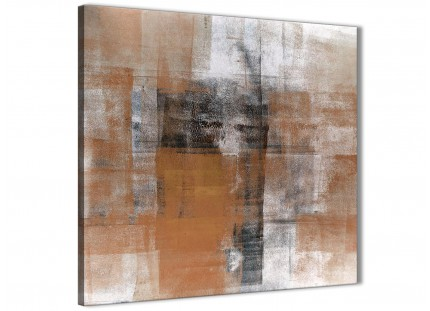 Orange Black White Painting Bathroom Canvas Wall Art Accessories - Abstract 1s398s - 49cm Square Print
