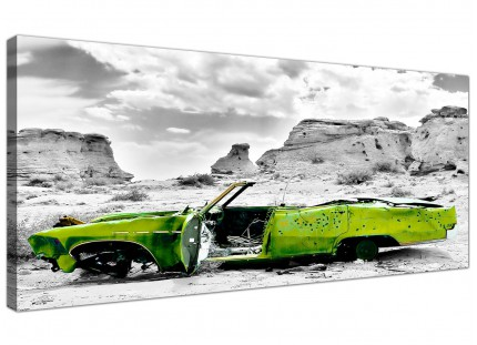 Large Abstract Lime Green Grey Car Desert Landscape Canvas Prints - 120cm - 1143
