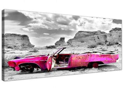 Large Pink Grey Black Abstract Desert Car Landscape Canvas Prints - 120cm - 1145