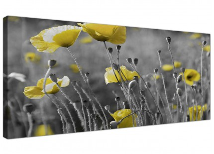 Large Yellow Grey Poppy Flower - Poppies Floral Modern Canvas Art - 120cm - 1258