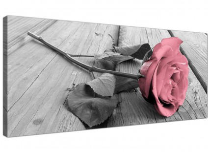 Large Pink Grey Rose Flower Pastel Floral Modern Canvas Art - 120cm - 1271