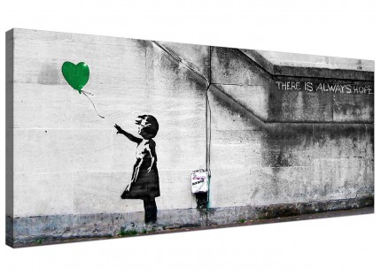 Large Banksy Balloon Girl Green Heart Hope Modern Canvas Art - 120cm - 1222