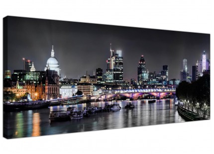 Large London Skyline at Night Cityscape Modern Canvas Art - 120cm - 1211