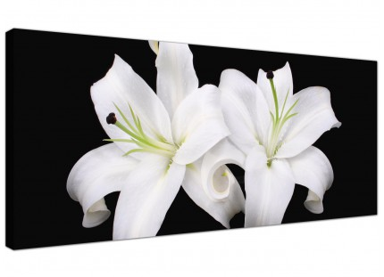 Large Black White Lily Flower Floral Modern Canvas Art - 120cm - 1128