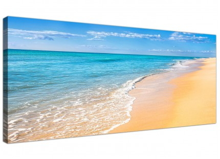 Large Panoramic Tropical Blue Seascape Beach Modern Canvas Art - 120cm - 1199
