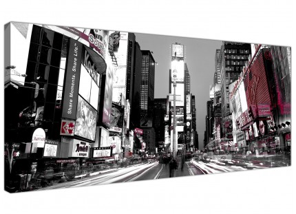 Large New York Times Square Red Black White Cityscape Canvas Art - 120cm - 1213