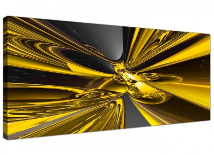 Large Yellow Black Modern Contemporary Abstract Canvas Art - 120cm - 1256
