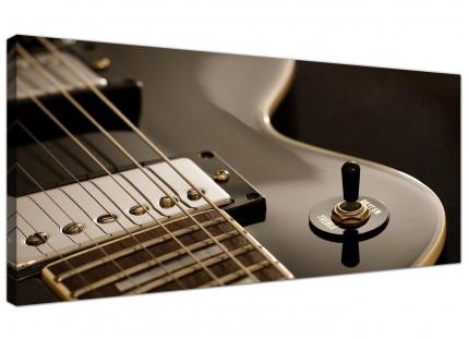 Large Black White Electric Guitar Gibson Music Modern Canvas Art - 120cm - 1125