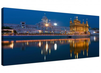 Large Sikh Golden Temple Amritsar - Blue Modern Canvas Art - 120cm - 1196
