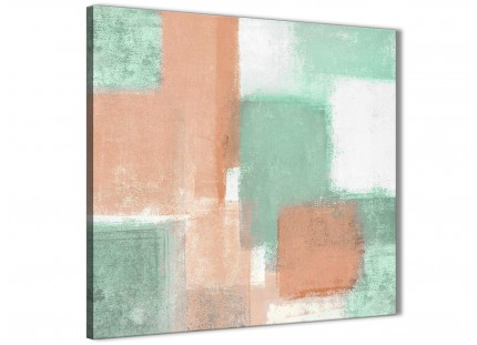 Peach Mint Green Bathroom Canvas Wall Art Accessories - Abstract 1s375s - 49cm Square Print