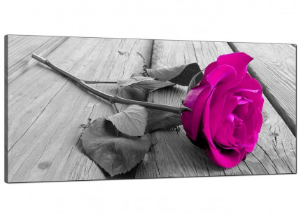 Large Pink Rose Grey Black White Flower Floral Modern Canvas Art - 120cm - 1036
