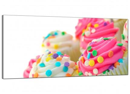 Large Pink White Cupcakes Kitchen Modern Canvas Art - 120cm - 1084