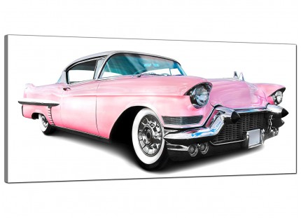 Large Pink Cadillac American Classic Car Modern Canvas Art - 120cm - 1040