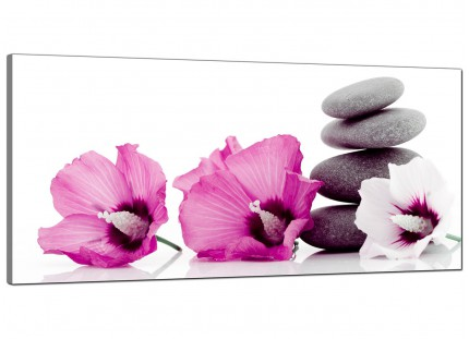 Large Pink Grey Flower Zen Pebbles Stones Floral Canvas Art - 120cm - 1069