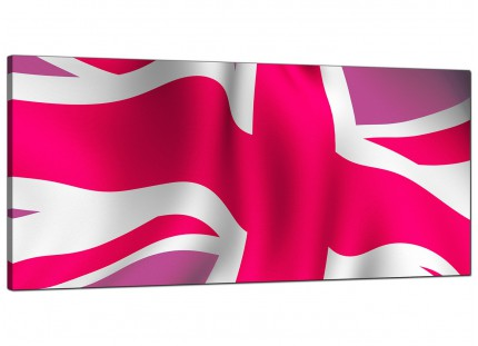 Large Pink White Union Jack Flag Abstract Modern Canvas Art - 120cm - 1012