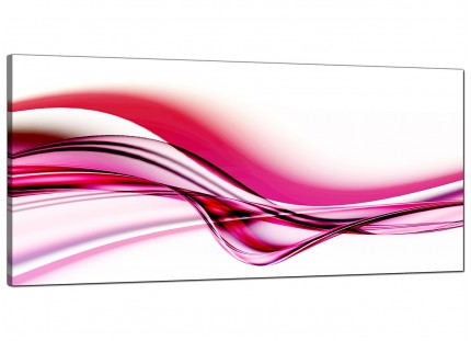 Large Pink and White Modern Wave Abstract Canvas Art - 120cm - 1030