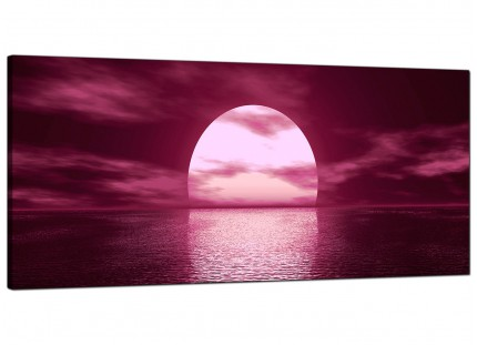 Large Plum Coloured Sunset Sea Landscape Modern Canvas Art - 120cm - 1004