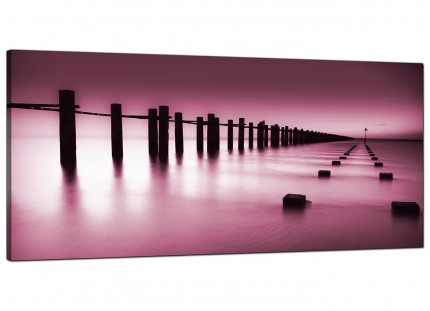 Large Plum Coloured Beach Scene Landscape Modern Canvas Art - 120cm - 1087
