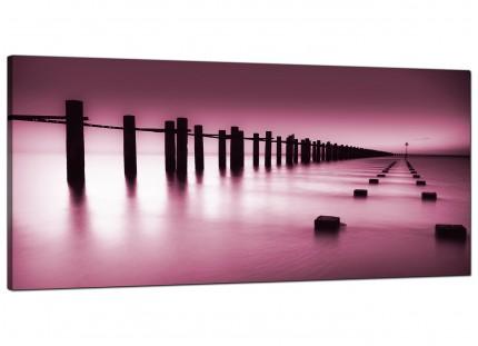 Large Plum Coloured Beach Scene Landscape Modern Canvas Art - 120cm - 1087
