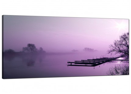 Large Purple Sunset Jetty Lake View Landscape Modern Canvas Art - 120cm - 1119