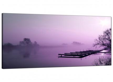 Large Purple Sunset Jetty Lake View Landscape Modern Canvas Art - 120cm - 1119