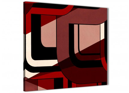 Red Black Painting Bathroom Canvas Wall Art Accessories - Abstract 1s410s - 49cm Square Print