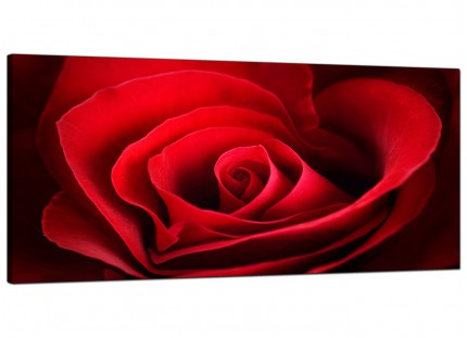 Large Red Rose Heart Petals Flower Floral Modern Canvas Art - 120cm - 1044