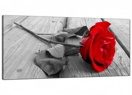 Large Red Rose Grey Black White Flower Floral Modern Canvas Art - 120cm - 1005
