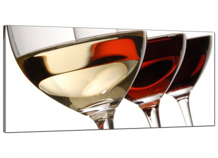 Large Red White Wine Glasses Kitchen Modern Canvas Art - 120cm - 1067