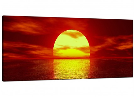 Large Red Yellow Sunset Ocean Sky Landscape Modern Canvas Art - 120cm - 1001