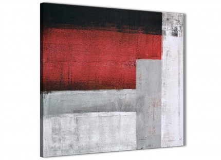 Red Grey Painting Bathroom Canvas Wall Art Accessories - Abstract 1s428s - 49cm Square Print