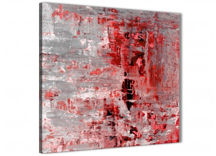Red Grey Painting Bathroom Canvas Pictures Accessories - Abstract 1s414s - 49cm Square Print