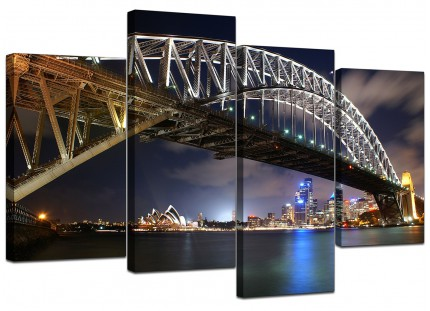 Sydney Harbour Bridge Opera House Cityscape Canvas - Split 4 Part - 130cm - 4041