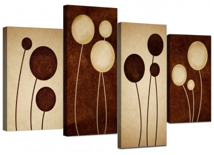 Brown Cream Modern Abstract Flower Floral Canvas - Split 4 Piece - 130cm - 4123