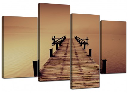 Brown Jetty Lake District Pier Landscape Canvas - Multi 4 Part - 130cm - 4045
