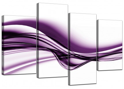 Purple and White Modern Wave Abstract Canvas - Split 4 Part - 130cm - 4031