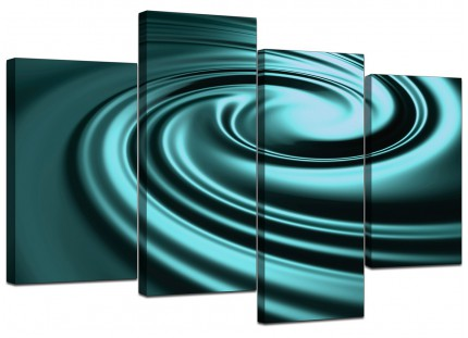 Teal Coloured Swirl Design Abstract Canvas - Multi 4 Part - 130cm - 4060