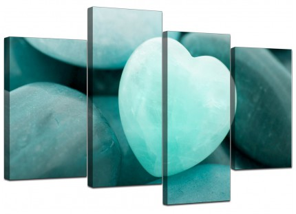 Teal Green Blue Love Heart Abstract Canvas - Multi 4 Set - 130cm - 4080