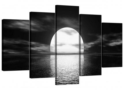 Extra Large Black White Sea Sunset Ocean Landscape Canvas - 5 Set - 160cm - 5003