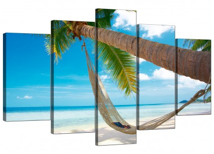 Extra Large Tropical Blue Palm Tree Scene Beach Canvas - 5 Panel - 160cm - 5039