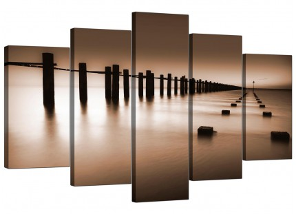 Brown Beige Coloured Beach Scene Landscape XL Canvas - 5 Set - 160cm - 5088
