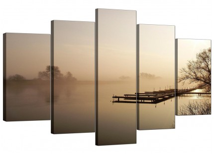 Sepia Brown Sunset Jetty Sunset View Landscape XL Canvas - 5 Part - 160cm - 5117