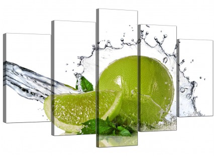 Extra Large Lime Green White Fruit Splash Kitchen Canvas - 5 Set - 160cm - 5057