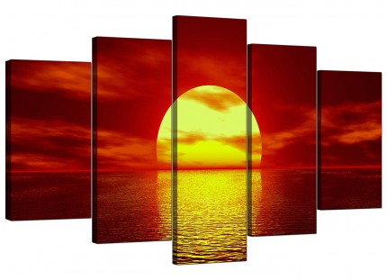 Extra Large Red Yellow Sunset Ocean Sky Landscape Canvas - 5 Set - 160cm - 5001