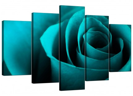 Teal Turquoise Blue Rose Petal Flower Floral XL Canvas - 5 Part - 160cm - 5109