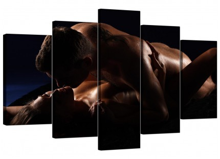 Extra Large Bedroom Romantic Couple Nude Erotica Canvas - 5 Panel - 160cm - 5133