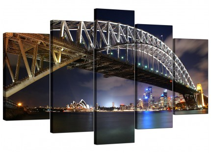Sydney Harbour Bridge Opera House Cityscape XL Canvas - Set of 5 - 160cm - 5041