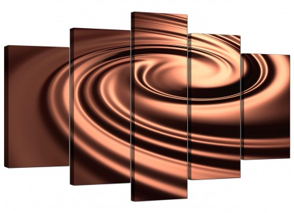 Extra Large Brown Modern Swirl Design Abstract Canvas - 5 Panel - 160cm - 5061