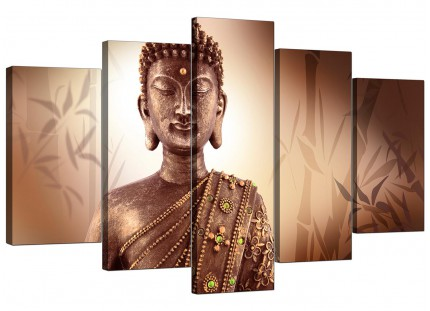 Extra Large Abstract Modern Buddha Face Brown Zen Canvas - 5 Part - 160cm - 5101