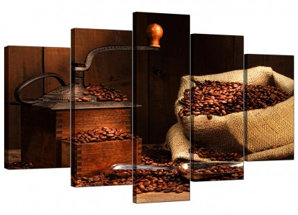 Extra Large Brown Coffee Beans Grinder Kitchen Canvas - 5 Panel - 160cm - 5062